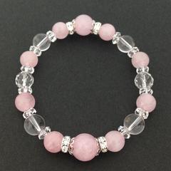 ピンク水晶&水晶激安出品レディースブレス