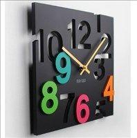 ★個性的★ 掛時計 ウォールクロック 四角デザイン ブラック