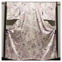 鈴乃屋謹製 上質 正絹 小紋 ピンク色 鳥 華模様 中古品