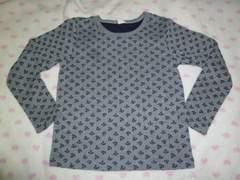 いかりマーク総柄♪グレー×ネイビー♪ロンT長袖Tシャツ130