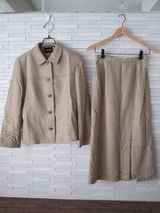 美品MISS PARISロングスカートセットアップスーツ/ベージュ/11AR