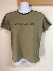 ★New Balance カーキ×黒ステッチTシャツ  L★