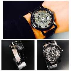 腕時計 ギリシャ文字  機械型 ステンレス レザー 革ベルト 黒