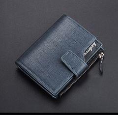 高品質レザー 財布 二つ折り 札・小銭・カード・定期 黒色