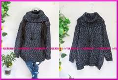 新作◆大きいサイズ3Lブラック系MIX編み◆ボリュームネックニットチュニ