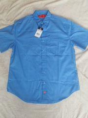 ディキーズ:左胸ポケットライトブルーワーク半袖シャツ:美品:L