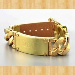D&G ドルチェ&ガッバーナ ロゴブレスレット 証明書付き ゴールド 美品