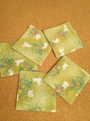 ハンドメイド和柄コースター(うさぎ 緑)5枚セット