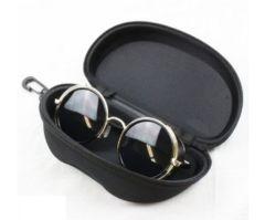 サングラス 丸眼鏡 レトロ メガネ ブラック [ケース付き]