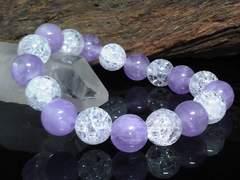 ラベンダーミルキーアメジストxクラック水晶10ミリ数珠