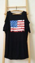 新品 大きいサイズ 肩開きドルマン国旗柄Tシャツ