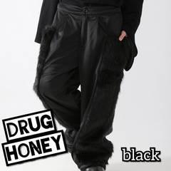 Drug honey【ユニセックス】ファー切替ワイドパンツ/黒