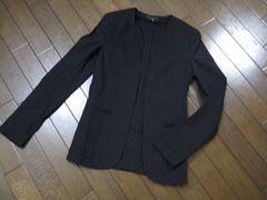〇theory〇セオリーリネンノーカラージャケット 麻 CRUNCH 黒 0