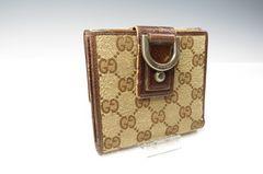 ★グッチ★GG柄 二つ折り 財布 外付けコインケース 茶