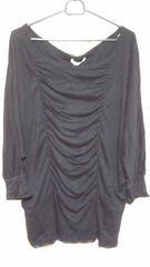 新品 バックひょう柄編み上げ・シャーリングラグランプルオーバー(4L)黒