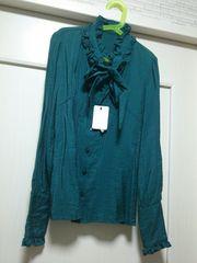 GEIMU新品タグつきモスグリーンサテンシフォンフリル付きシャツ