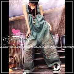 3L4L*大きいサイズ*花刺繍ウォッシュデニムガウチョサロペット*オーバーオール