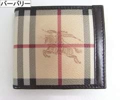 本物確実正規超美品 バーバリー 2つ折りロゴ財布