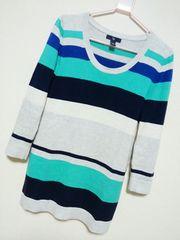 【GAP】グレー×水色×紺マルチボーダー七分袖ニットトップス