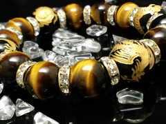 四神獣オニキス16ミリ§タイガーアイ14ミリ金ロンデル数珠