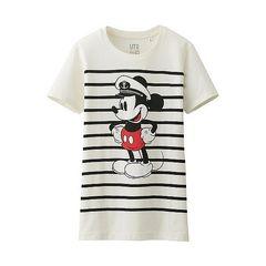ママガール記載 大きいサイズXL 新品 ディズニー ユニクロミッキー ボーダーTシャツ マリン