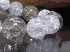 爆裂煙水晶14ミリ&爆裂水晶12ミリ数珠