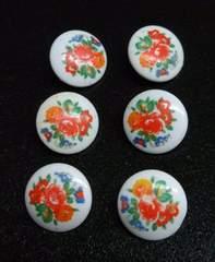 直径約15ミリ×6個・花のプリントのボタン(��31612)