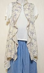 ♪新品タグ付♪花柄アシンメトリー夏ロングカーディガン♪ブルー