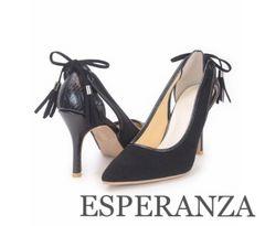 ESPERANZA バックタッセルリボンポインテッドパンプス Black