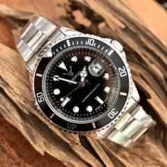 最安値!ロレックス・サブマリーナタイプ◇クォーツ メタル腕時計・ブラック×シルバー