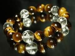 銀彫梵字水晶×タイガーアイ×カット水晶ブレスレット 金運招来