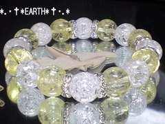 天然石★12ミリクリームイエロークラック水晶&爆裂クラック水晶数珠
