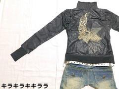 ●MIDAS●クリスタルラグジ★コンドル刺繍*ナイロンジャケット(指穴��)ブラックL