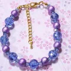 【handmade】キラキラ夏color*硝子のブレスレット
