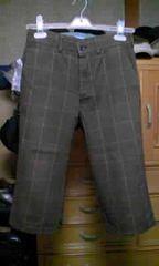 日本製 チェック柄・ハーフパンツ Sサイズ・W28・細身タイト 茶色・ブラウン