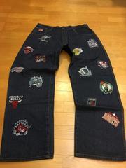 NBA  オールスター  総刺繍デニム  used美品  sizeW40  100cm