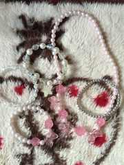 子供用☆ネックレスとブレスレット4つセット☆薔薇リボン星