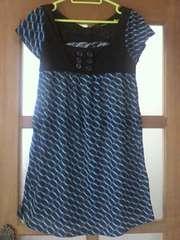 【美品】幾何学模様◆ミニ丈ワンピース◆青×黒