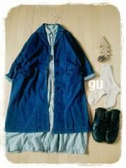 ‡gu‡秋の服デニムチェスターコート美品ブルー