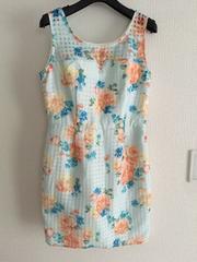 リエンダrienda花柄フラワーコクーンタンクミニワンピーススカート水色