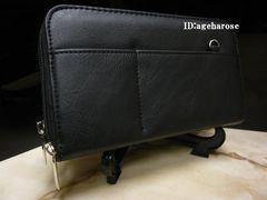 【新品】Wファスナー長財布 合皮  ブラック 無地
