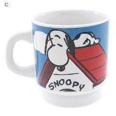 新品◆スヌーピースタッキングマグカップ(C)陶器製