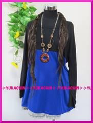 新作◆大きいサイズ4Lブラック×ブルー◆切り替えストレッチチュニック