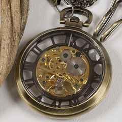 懐中時計 アンティーク風 全面スケルトン ブロンズカラー