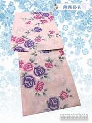 【和の志】女性用浴衣◇綿絽◇Fサイズ◇ピンク系・薔薇◇4