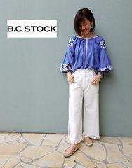 B.C STOCK*simplicite★ボリューム袖刺繍ブラウス/新品ブルー