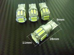 4球セット!新型7020チップ搭載/12v/T10ウェッジ/超白色LED/10連