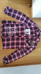 赤系チェック柄の長袖シャツ【LLサイズ】