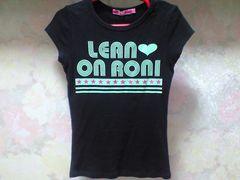 RONIプリントcute☆星ラメTシャツ黒:M(120〜130)