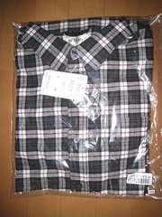 新品★黒チェック柄 長袖シャツ★LLTサイズ